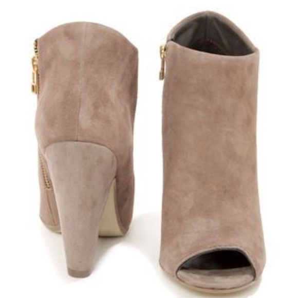9d39938868b Steve Madden Suede Taupe Open-Toe Booties